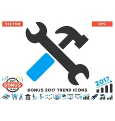 Hammer And Wrench Flat Icon With 2017 Bonus Trend vector image