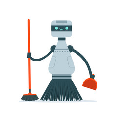 housemaid cleaning robot character vector image