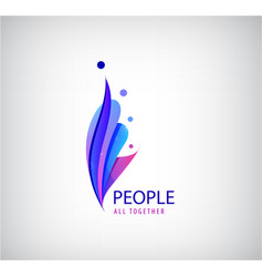 human logo 4 person icons group people vector image