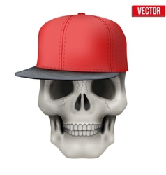 Human skull with rap cap on head vector
