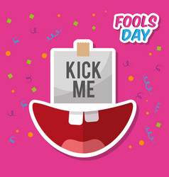 Kick me prank paper sticker and happy mouth vector