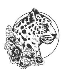 Leopard head animal engraving vector