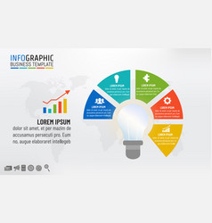 light bulb infographic template for business idea vector image