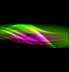 liquid neon flowing waves glowing light lines vector image