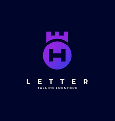 Logo abstract letter h with circle gradient vector