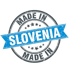 Made in slovenia blue round vintage stamp vector