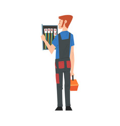 Male electrician engineer operating switchboard vector
