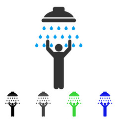 Man under shower flat icon vector