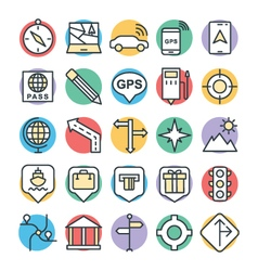 Map and Navigation Cool Icons 2 vector image