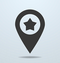 Map pointer with a star symbol vector image