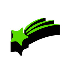 Meteor shower sign green 3d icon with vector