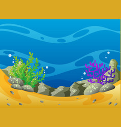 Ocean scene with coral reef and rocks vector