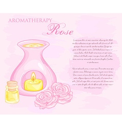 Oil burner with rose flovers and essential oil vector