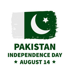 Pakistan independence day lettering with flag vector