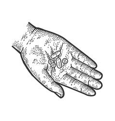 Pills in hand sketch vector