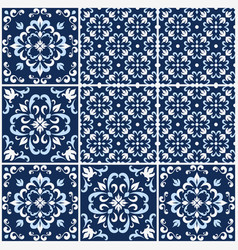 portuguese tiles with azulejo patterns vector image