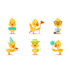 Pretty animated chickens in different actions vector