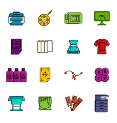 printing icons doodle set vector image