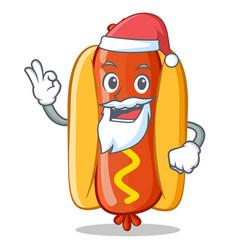 Santa hot dog cartoon character vector