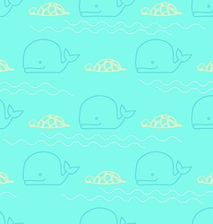 Seamless pattern whale turtle vector