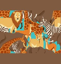 seamless pattern with african savanna animals vector image