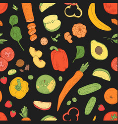 seamless pattern with healthy vegetarian food vector image