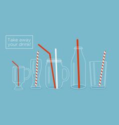 set glasses and bottles vector image