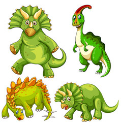 Set green dinosaur cartoon character vector