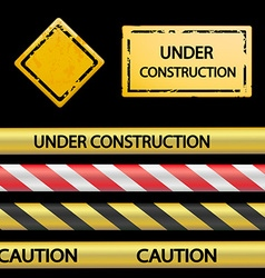Set of signal tape and warning signs vector