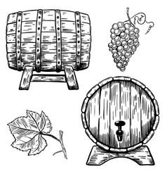 Set of wooden wine barrels grape grape leaf vector
