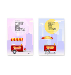 set posters with red fast food cart on backdrop vector image