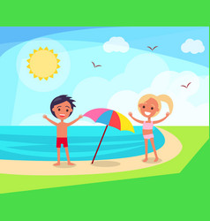 Small boy and girl playing under sun on beach vector