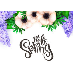 spring hand lettering label vector image