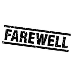Square grunge black farewell stamp vector