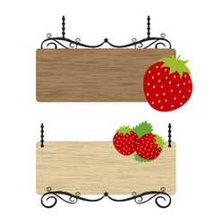 Strawberry wood sign vector image