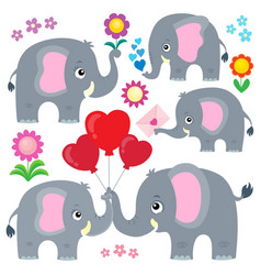Stylized elephants theme set 4 vector