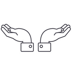 support hands line icon sign vector image