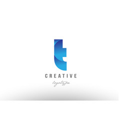 T blue gradient alphabet letter logo icon design vector