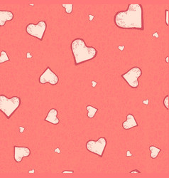 The seamless pattern of the heart on pastel vector