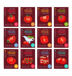 Tomato product sauce ketchup poster set vector