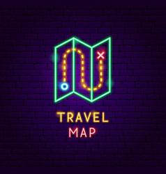 Travel map neon label vector