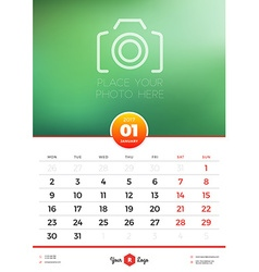 Wall Calendar Template for 2017 Year January vector image