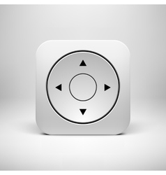 White Abstract Joystick App Icon Button Template vector image