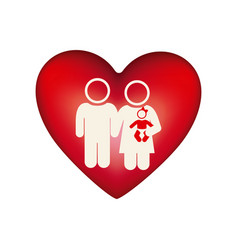 White background pictogram with heart and couple vector