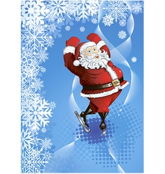 winter background with skating santa vector image