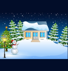 Winter night landscape with house in the christmas vector