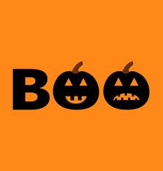 Word boo text set with smiling sad black pumpkin vector