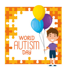 world autism day with boy and balloons helium vector image