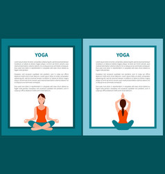 yoga banner woman in sitting poses color icons vector image