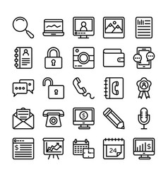 Business and office line icons 19 vector
